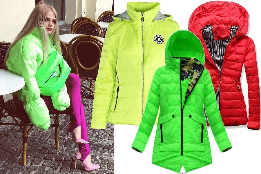Kolorowe kurtki puchowe