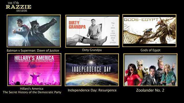 Złote Maliny 2017 - filmy nominowane w kategorii najgorszy film roku