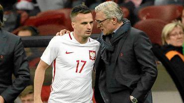 Sławomir Peszko (z lewej) i trener Adam Nawałka