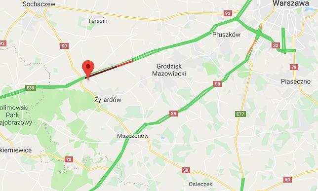 Wypadek na A2. Korek w stronę Warszawy