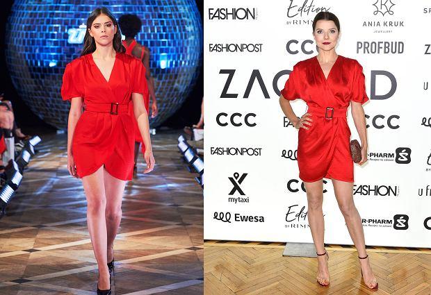 bd1b6ae4c5c9a9 Czerwona sukienka z kolekcji Zaquad - świetnie nosi ją Joanna Jabłczyńska