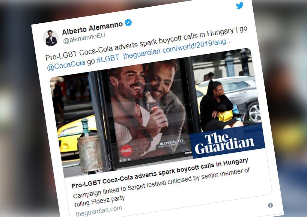 Węgry: Poseł Fideszu wezwał do bojkotu Coca-Coli. Firma stworzyła plakaty z osobami LGBT