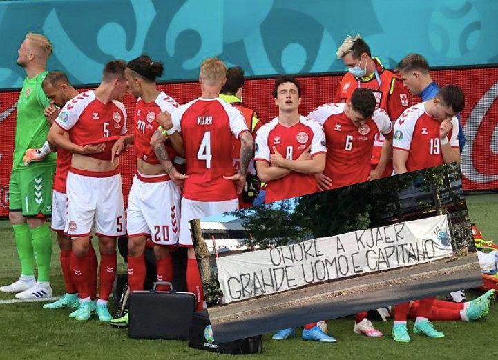 Reprezentacja Danii robiąca kordon wokółChristiana Eriksena. Simon Kjaer (kapitan, tyłem) i baner kibiców Interu Mediolan gratulujących postawy. Źródło: AP / Twitter