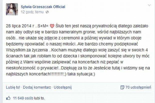 Sylwia Grzeszczak wzięła ślub