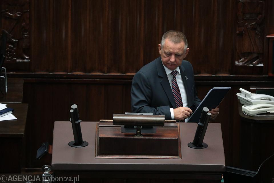 Marian Banaś w Sejmie, 15 września 2021 roku.