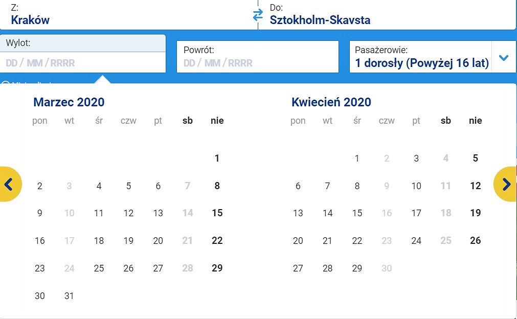 Loty z Krakowa do Sztokholmu
