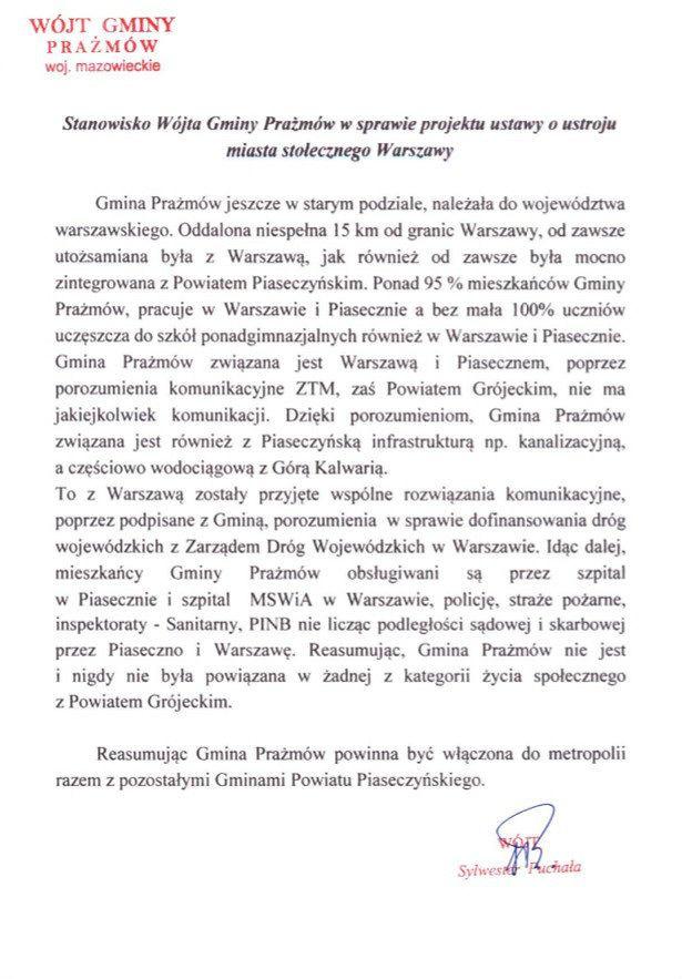 Stanowisko wójta gminy Prażmów dotyczące Metropolii Warszawskiej.
