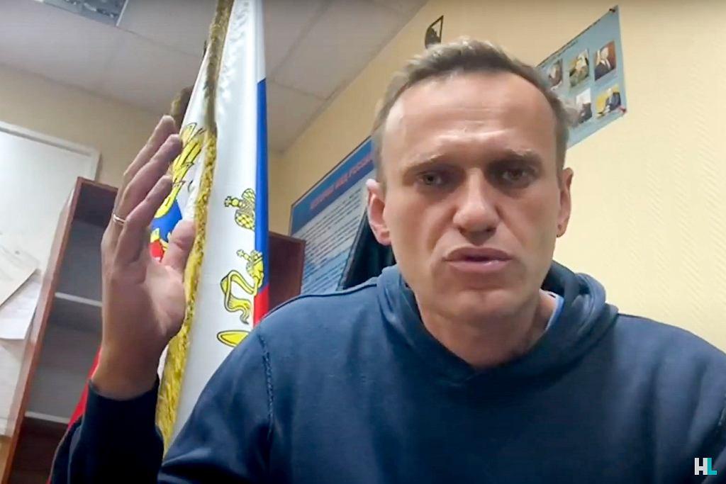 18.01.2021, Chimki, Aleksiej Nawalny podczas rozprawy sądowej na miejscowym posterunku policji