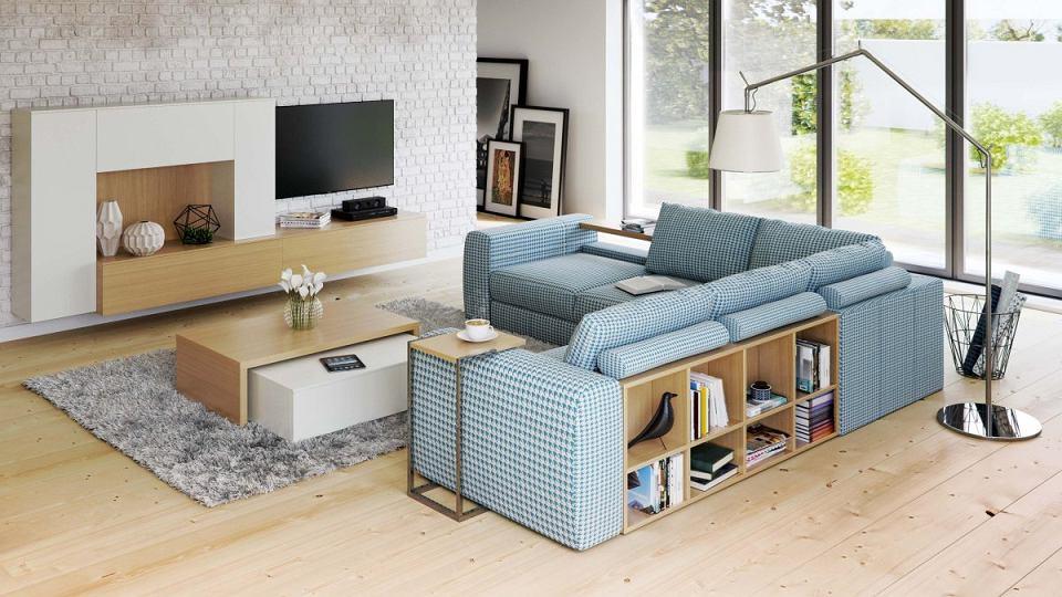 Sofa BIBLIO z półkami, tkanina do wyboru, 277 x 277 cm, wys. 85 cm, od 9000 zł, Caya Design