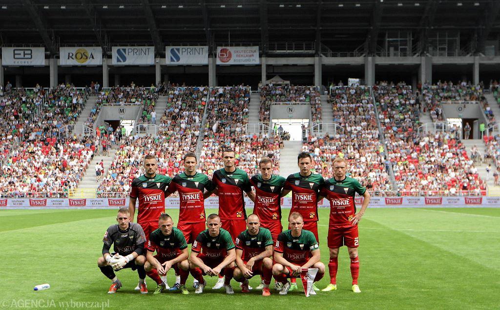 GKS Tychy - 1. FC Koeln 0:1. Paweł Florek w dolnym rzędzie pierwszy z lewej