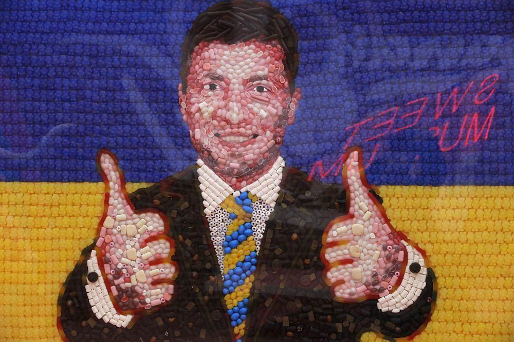 Portret Wołodymyra Zełenskiego z cukierków