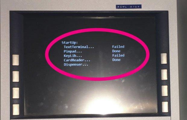 Wpłatomat podczas restartu wyświetlił komunikat zawierający słowo FAILED