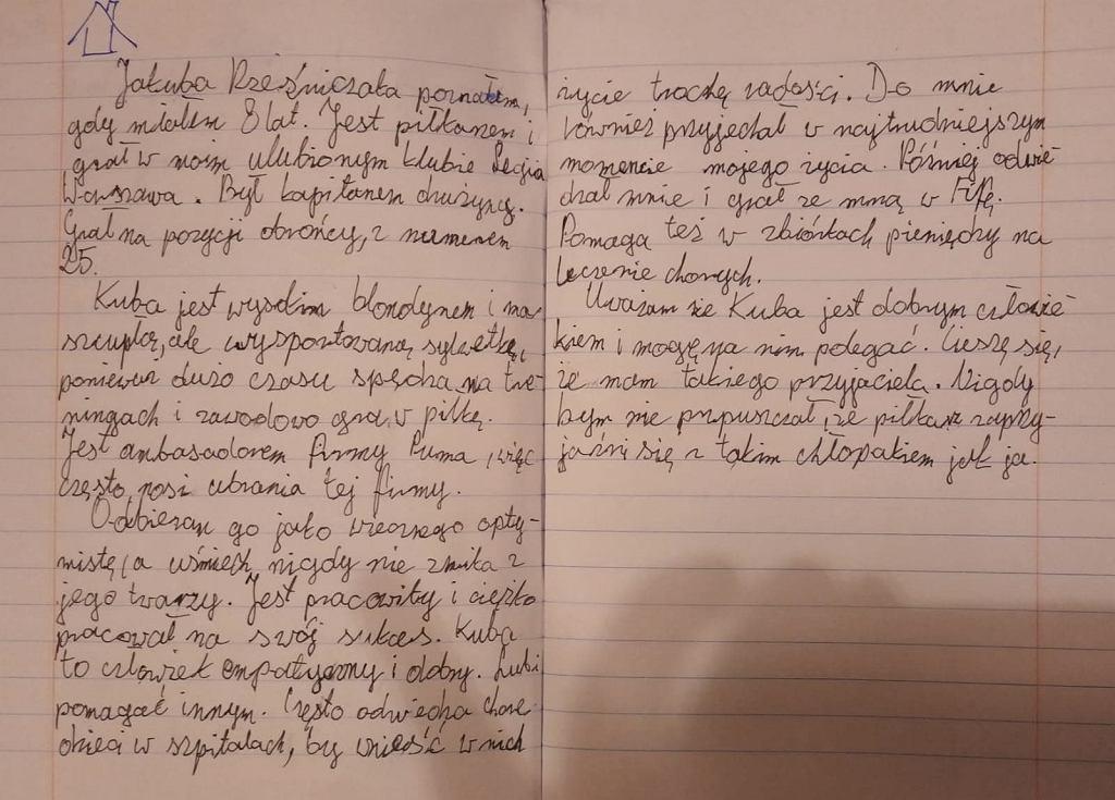 Kacper opisywał swojego idola - Jakuba Rzeźniczaka