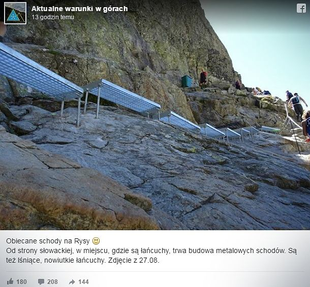 W Tatrach prócz łańcuchów zamontowano metalowe schody.