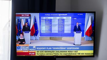 mKonferencja prasowa premiera rzadu PiS. W dobie pandemii koronawirusa - bez udzialu mediw. Transmisja z KPRM