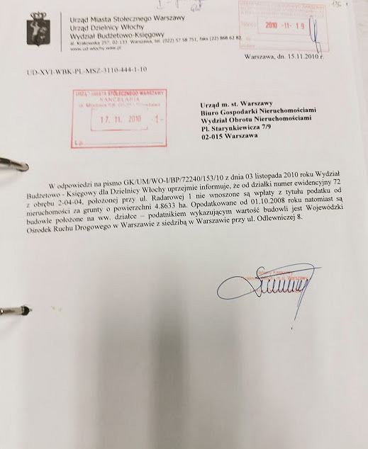 Pismo z urzędu m. st. Warszawy