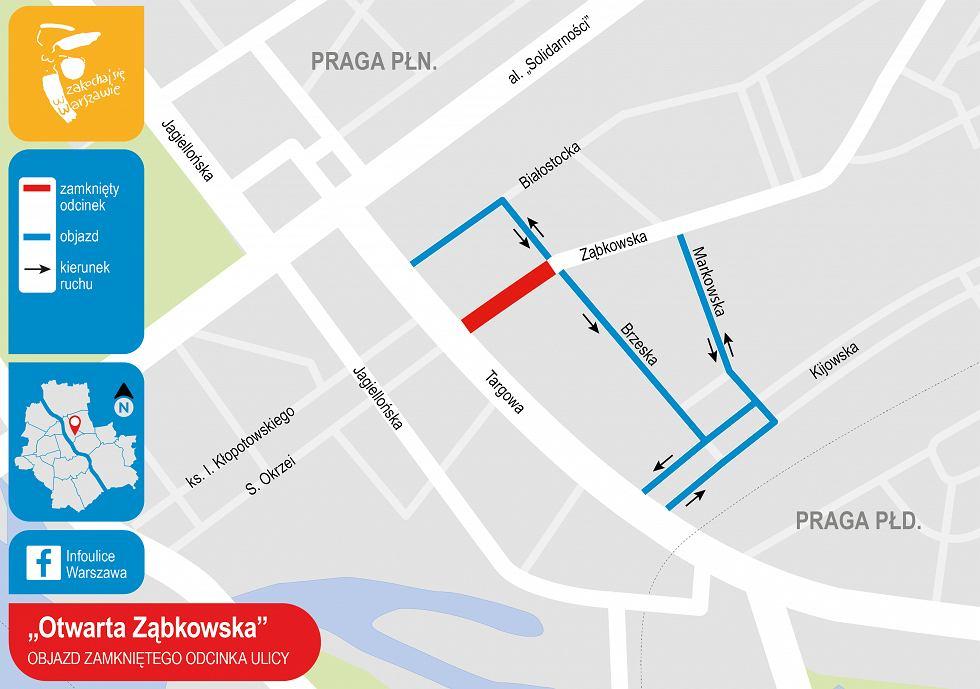 Otwarta Ząbkowska - zmiany w ruchu na ulicy Ząbkowskiej
