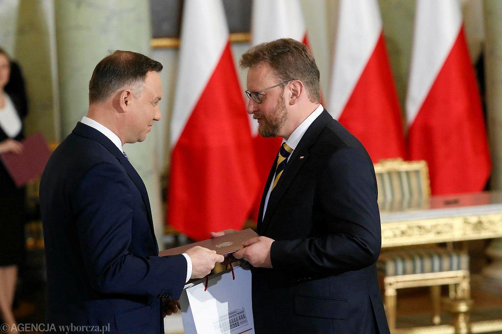 Prezydent Andrzej Duda i minister zdrowia Łukasz Szumowski. Rekonstrukcja rządu PiS. Warszawa, Pałac Prezydencki, 9 stycznia 2018