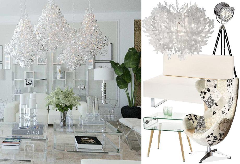 Białe wnętrze w stylu glamour