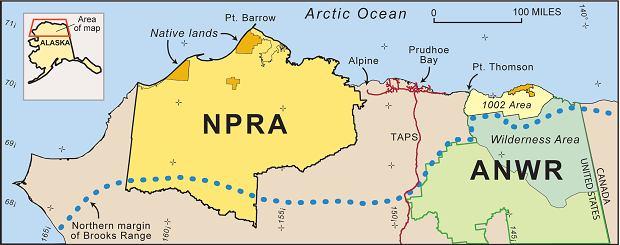 Lokalizacja National Petroleum Reserve na Alasce.