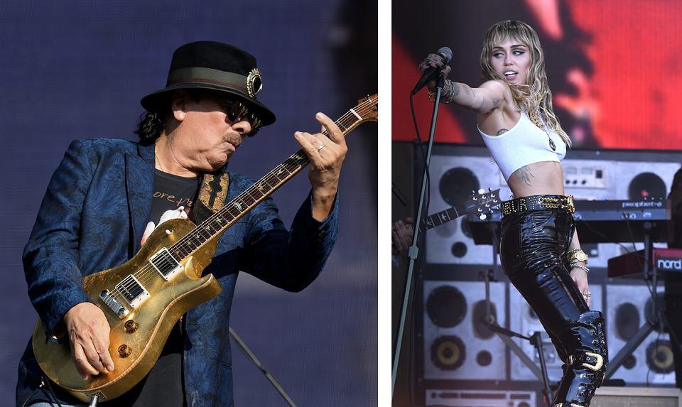 Czy Carlos Santana (Hyde Park, Londyn, 8 lipca 2018) i Miley Cyrus (Glastonbury, 30 czerwca 2019) wystąpią obok siebie na festiwalu Woodstock?