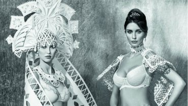Asya Kozina stworzyła papierowe suknie ślubne z różnych stron świata we współpracy z salonem bielizny Wild Orchid