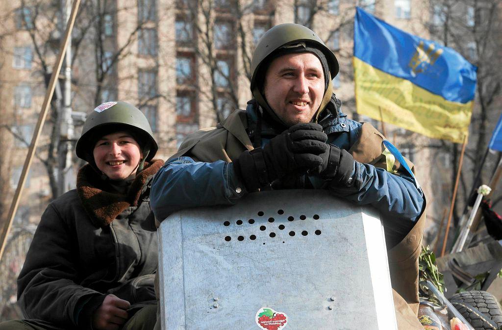 Demonstranci na Majdanie w Kijowie