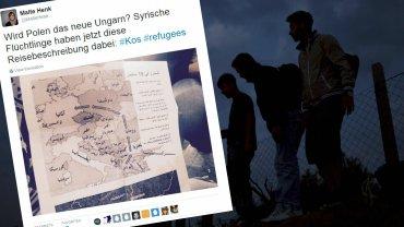Mapa z trasą przyszłej wędrówki uchodźców?