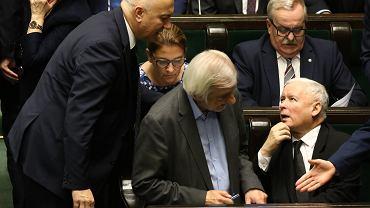 Joachim Brudziński i prezes PiS Jarosław Kaczyński. 71 Posiedzenie Sejmu VIII Kadencji, Warszawa, 9 listopada 2018