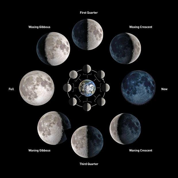 Fazy księżyca - poznaj podział na cztery fazy.