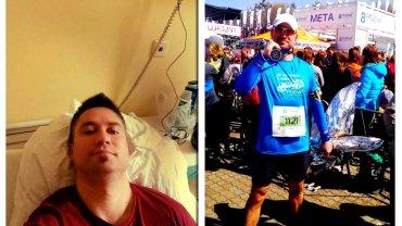 Pewnego dnia Piotra Oleszczaka zaczęła boleć głowa. Tabletka nie pomogła, a ból z każdą chwilą był coraz silniejszy. Poszedł do szpitala. Po kilku rezonansach stwierdzono, że ma deformacje tylnych tętnic. Był tak słaby, że na drugie piętro wchodził kilka minut. Z przerwą na pierwszym. Ważył wtedy 112 kg przy wzroście 185 cm. Zalecenia lekarza były jednoznaczne - zero stresu, zmiana trybu życia, dieta. Na początku wykonywał bardzo wolne marszobiegi, na dystansie ok. 2 km. Zmienił odżywianie. Rewolucja dotyczyła głównie odstawienia ciastek, batonów, tortów.  Rok później w Poznaniu ukończył swój pierwszy półmaraton. Na metę wbiegł z czasem 1:45. - To był szok! Przed oczami - jak w przyspieszonym filmie - miałem szpital i to wejście do domu na drugie piętro z przerwą na pierwszym. Nigdy nie byłem szczęśliwszy! Dostałem swój pierwszy medal! I ważyłem 32 kg mniej niż rok wcześniej. A kiedy pytają mnie: 'Piotr, ale dlaczego, po co biegasz? Przecież już jest dobrze i nie musisz?', odpowiadam: 'Biegam, bo są tacy, co nie mogą!'. - opowiedział Piotr serwisowi PolskaBiega.pl.