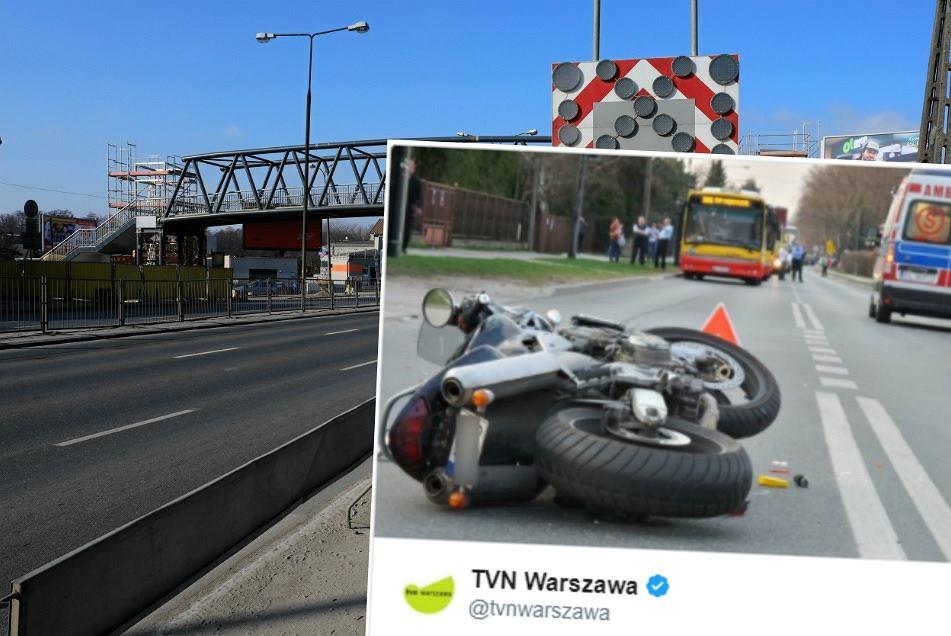 Wypadek na Wawrze. Motocyklista uderzył w samochód, po chwili przejechała po nim laweta