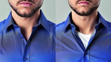 T-shirt wystający spod koszulki (jak po prawej stronie), nie wygląda zbyt atrakcyjnie...