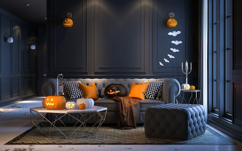 Impreza halloweenowa - wystrój domu. Zdjęcie ilustracyjne