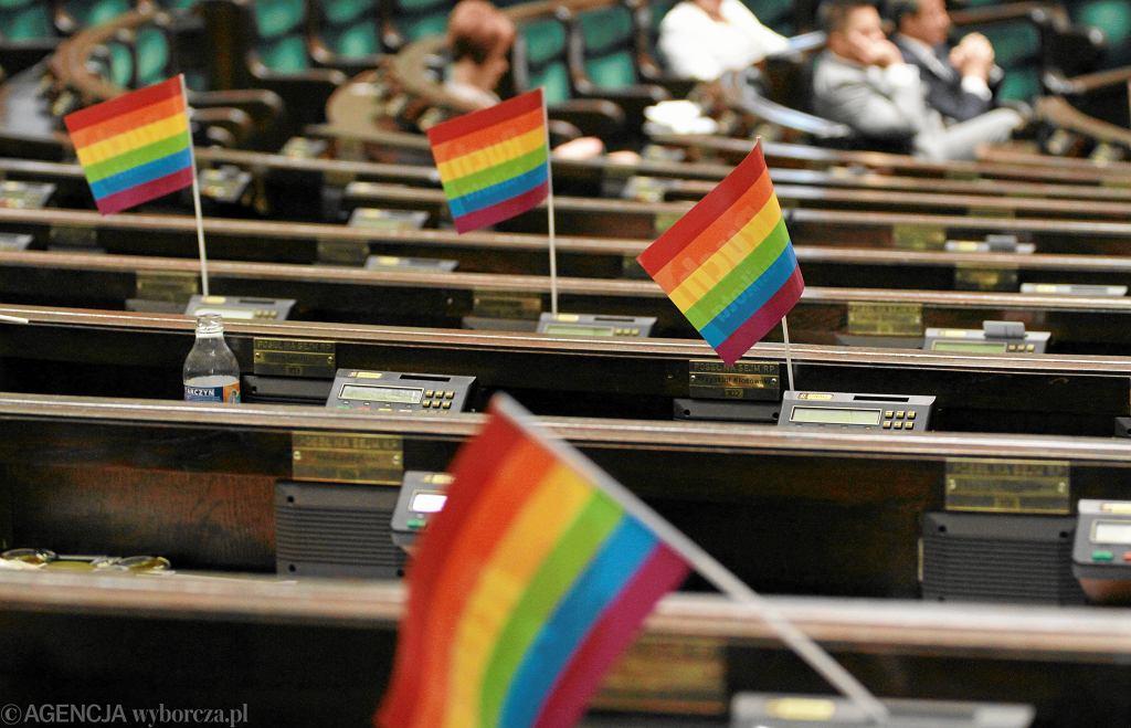 Tęczowe chorągiewki zostawione przez posłów z Ruchu Palikota, kiedy sejm wykreślił z porządku obrad debatę nad projektem ustawy o związkach partnerskich (2012 r.)