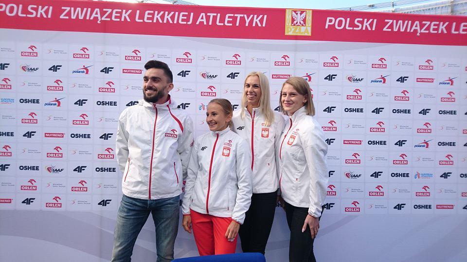 Adam Kszczot, Iga Baumgart, Aleksandra Gaworska i Patrycja Wyciszkiewicz na Stadionie Śląskim