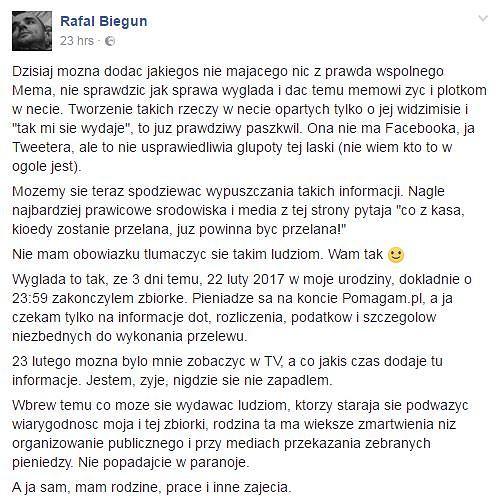Oświadczenie Rafała Bieguna