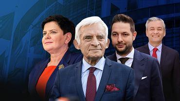 (Od lewej) Beata Szydło, Jerzy Buzek, Patryk Jaki, Robert Biedroń