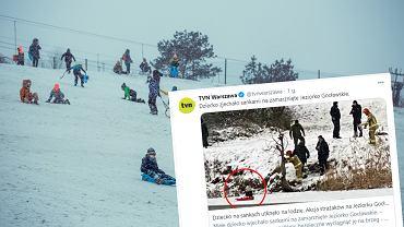 Dziecko utknęło na tafli lodu na Jeziorku Gocławskim