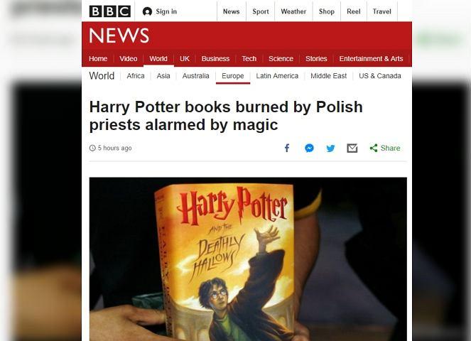 BBC pisze o spaleniu książek o Harrym Potterze w Gdańsku