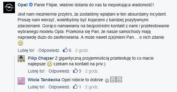 Odpowiedź Opla na post Filipa Chajzera