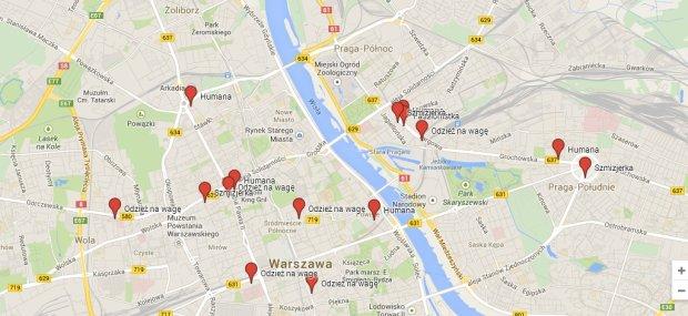 Mapa warszawskich ciucholandów