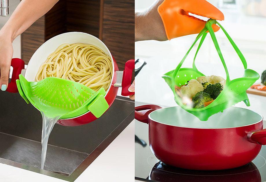 Silikonowe akcesoria kuchenne - durszlak i parowar