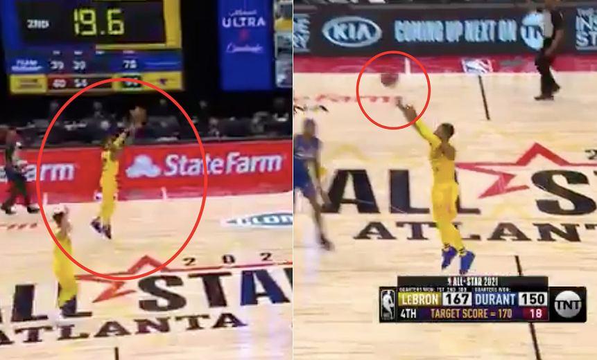 Damian Lillard dwukrotnie z połowy boiska w trakcie NBA All-Star Game 2021 (Mecz Gwiazd). Źródło: Twitter