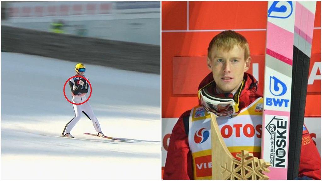 Jewgienij Klimow z 'gestem Kozakiewicza' podczas pierwszej serii konkursu w Planicy