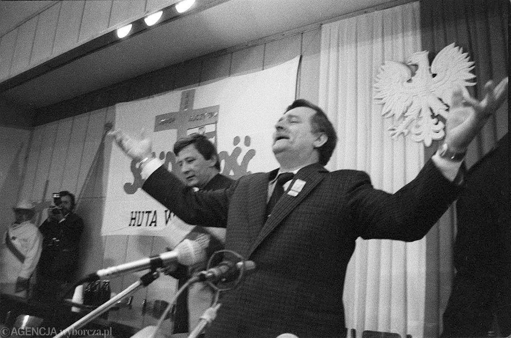 Lech Wałęsa w Hucie Warszawa; kampania wyborcza w maju 1989 r.