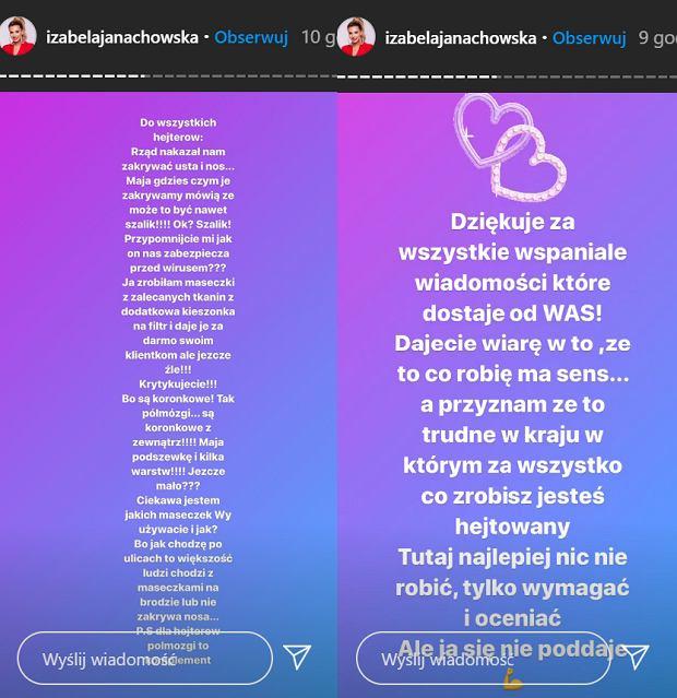 Izabela Janachowska szyje maseczki ochronne dla panien młodych