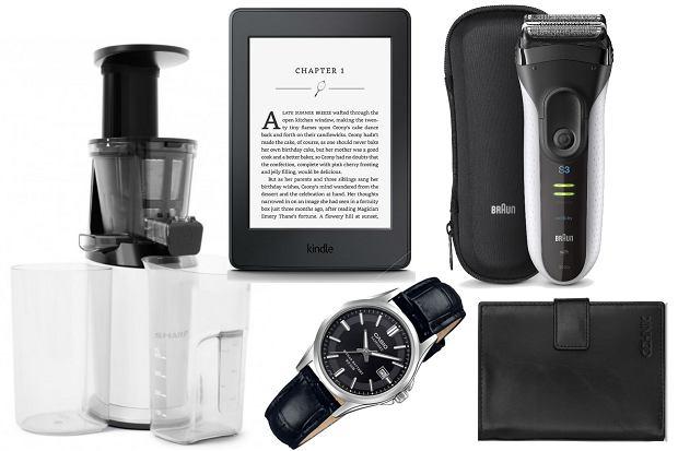 Prezenty na Dzień Ojca: wyciskarka wolnoobrotowa Sharp Home Appliances, czytnik Kindle, golarka Braun, zegarek Casio, portfel Ochnik