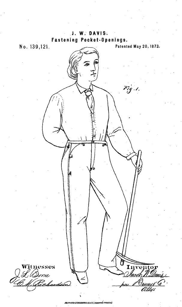 Rysunek spodni wzmocnionych nitami, który Jacob Davis załączył do aplikacji o patent zgłoszony 9 sierpnia 1872 r., a przyznany rok później. Opatrzył go adnotacją: 'Niniejszym deklaruję, że poniższy opis i załączony rysunek wystarczą każdej osobie posiadającej pewną wiedzę w zakresie sztuki, której to dotyczy, aby zrobiła użytek z mojego wynalazku bez żadnych dodatkowych pomysłów czy eksperymentów'.