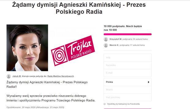 Petycja o dymisję Agnieszki Kamińskiej